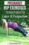 Pinterest image with text: pregnant woman in pink shirt and black pants perfoming a glute exercise outside