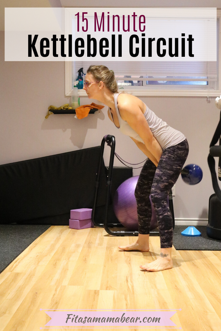 Pinterest image with text: Woman in gym clothes performing a kettlebell circuit workout