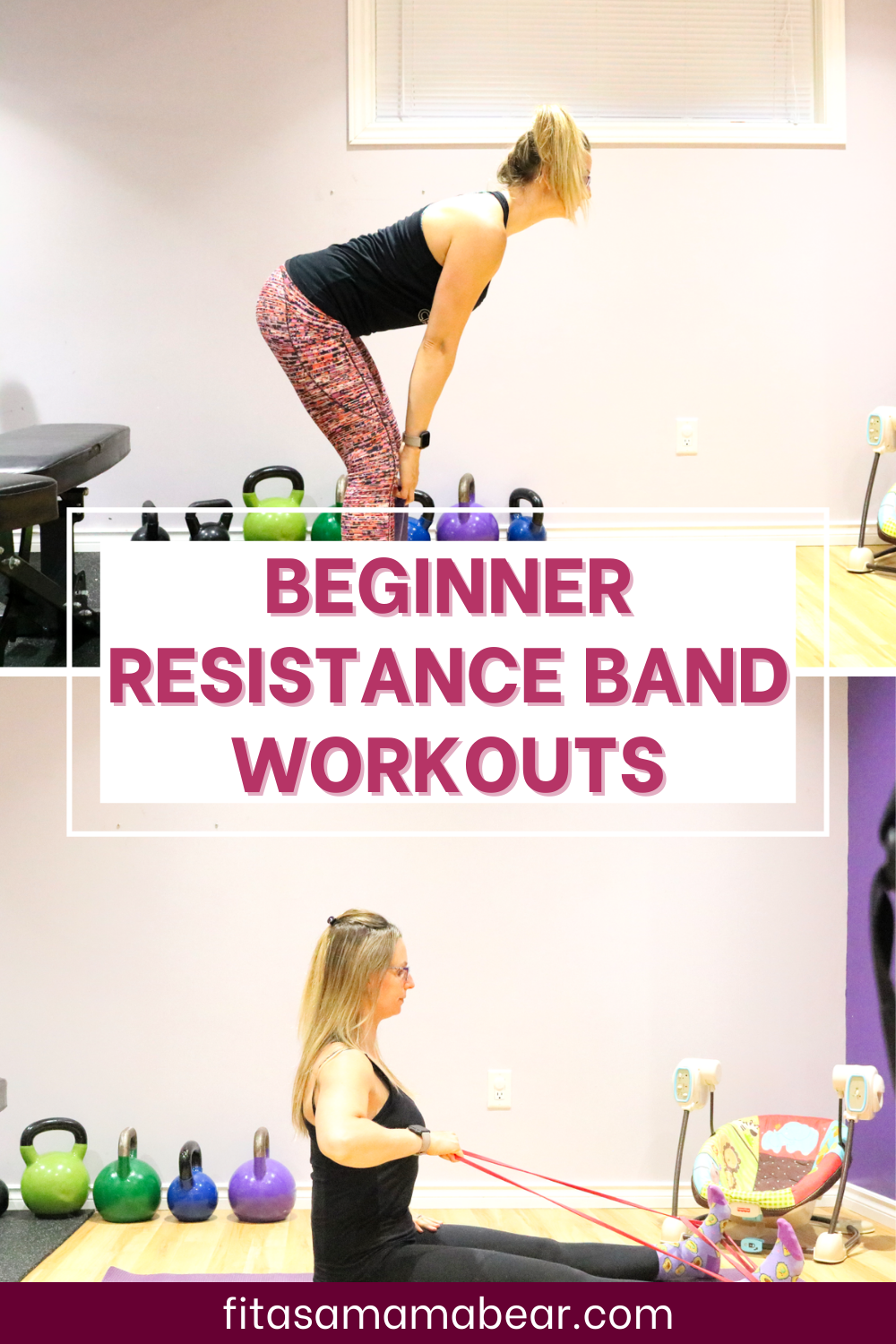 Pinterest image with text: top image of a lady bent over and below of her sitting, doing excercises