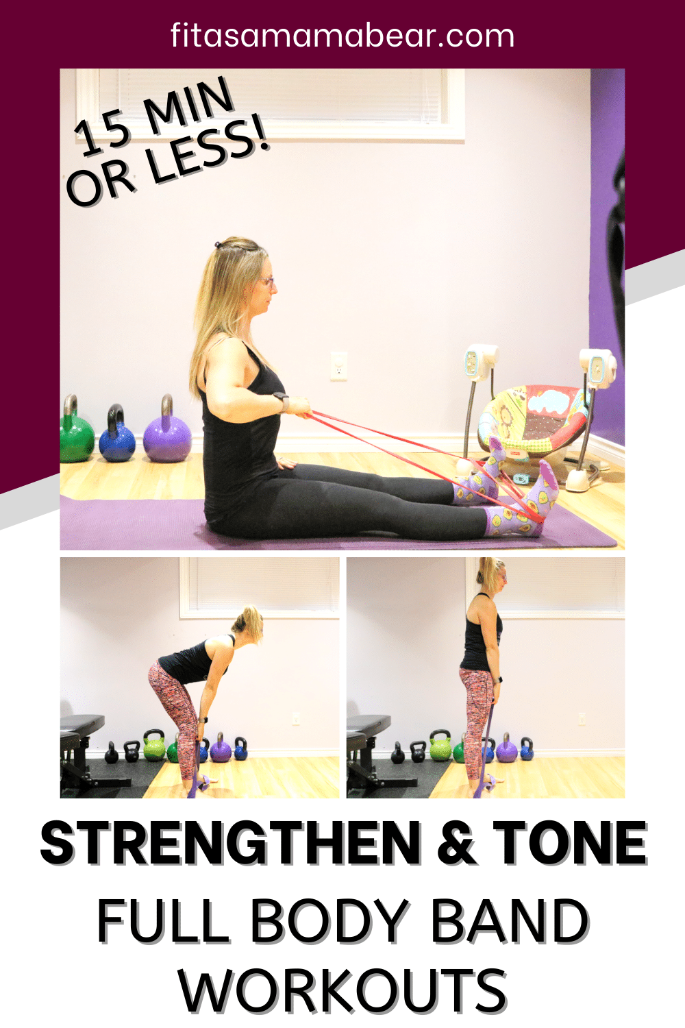 Pinterest image with text: 3 images of a lady preforming exercises with a resistance band