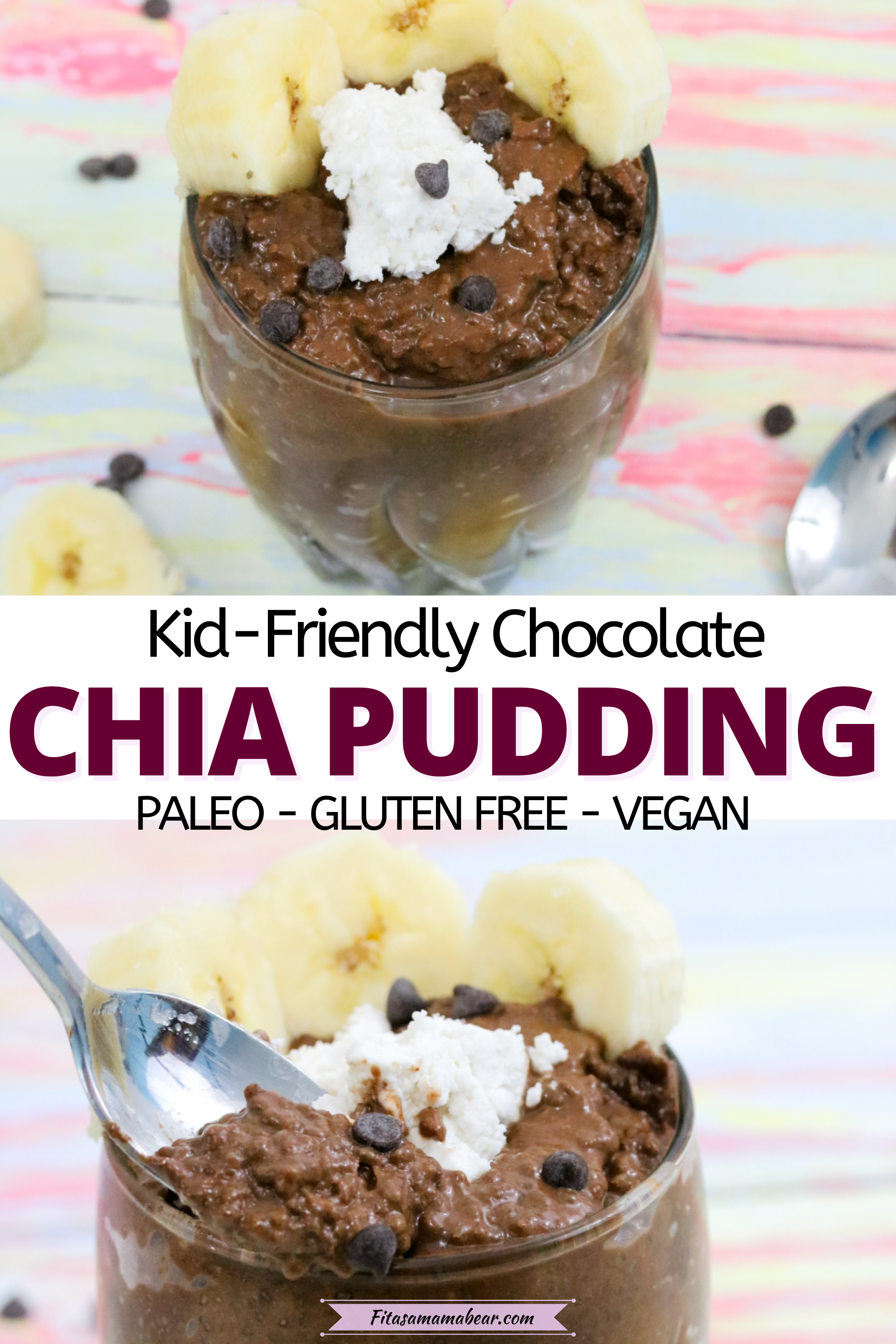 Pinterest image with text: two images of chocolate chia seed pudding