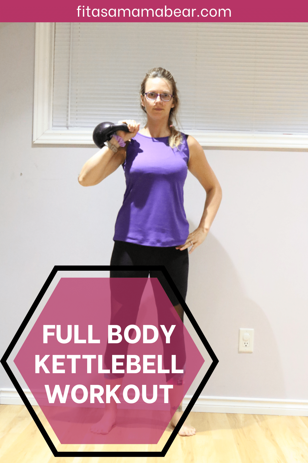 Pinterest image with text: a lady in a purple shirt holding a kettlebell over her back