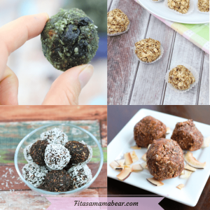 Featured image with text: four images of homemade energy balls