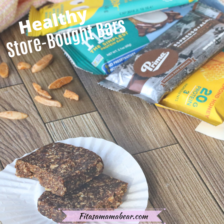 Pinterest image with text: healthy packaged snack bars with one open bar in front