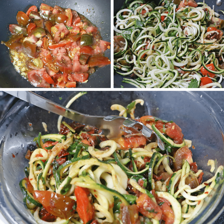 Collage image for zucchini noodles pasta: multiple in process images together