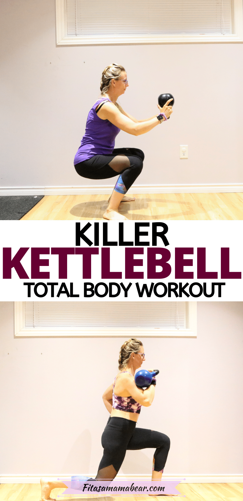 Pinterest image with text: two images of a female doing exercises with a kettlebell