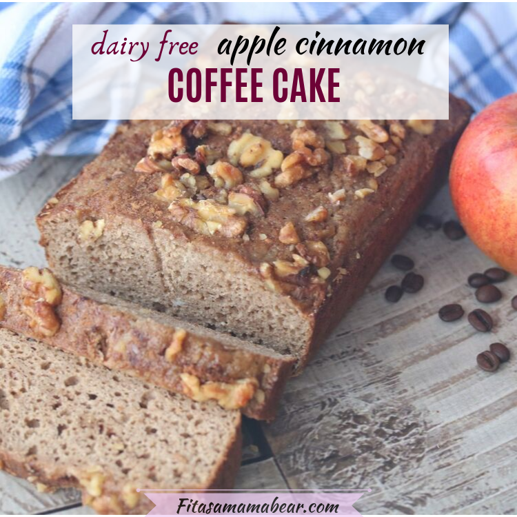 Facebook image with text: sliced coffee cake with full red apple beside it and coffee beans scattered