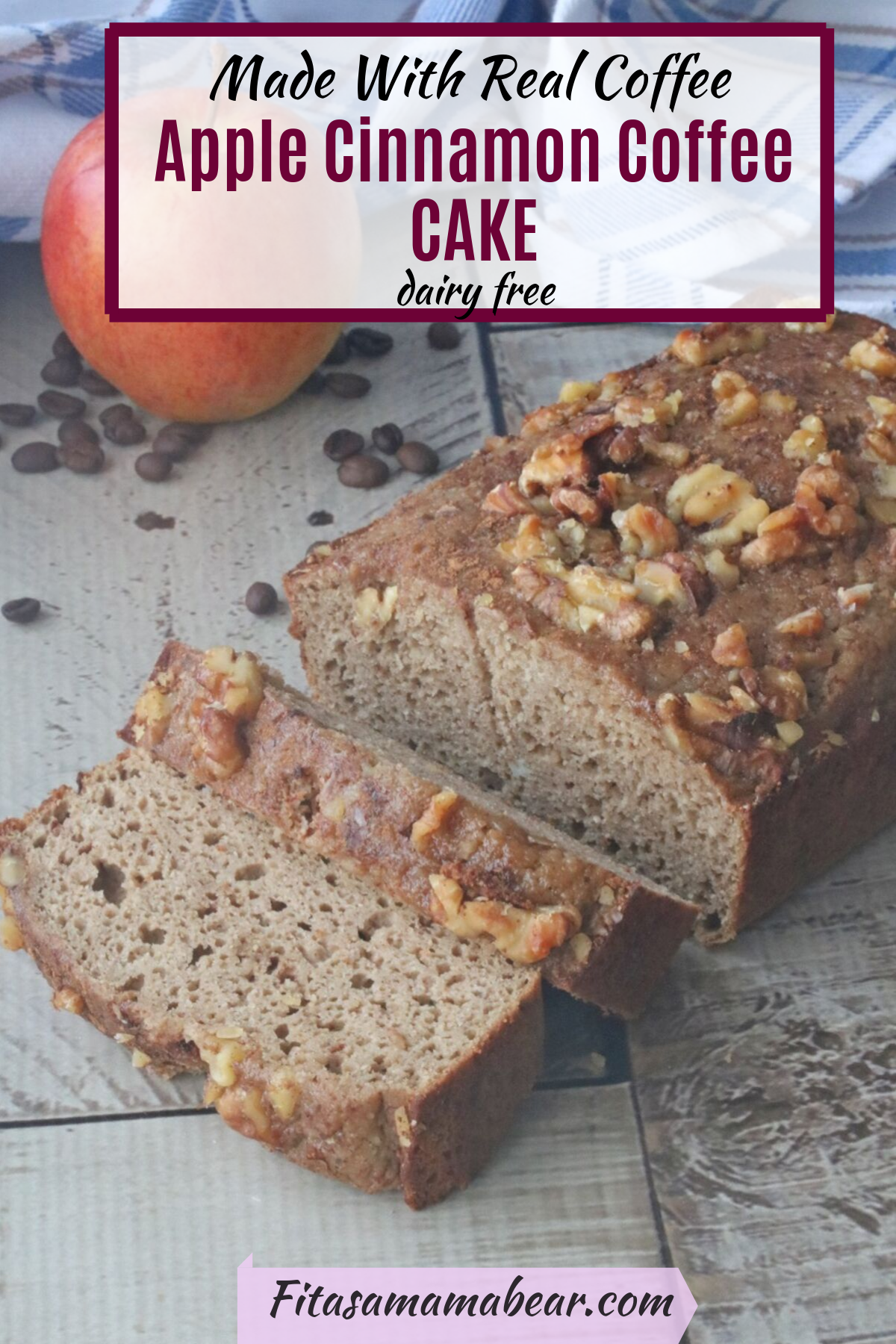 Pinterest image with text: sliced coffee cake with full red apple beside it and coffee beans scattered