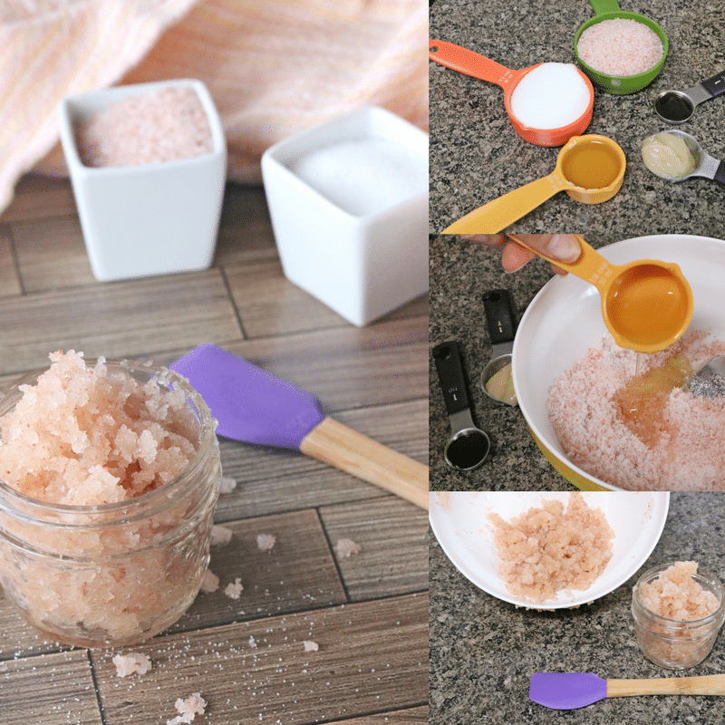 collage of a diy lip scrub recipe with scrub in a white ramekin and three in process images to make the scrub