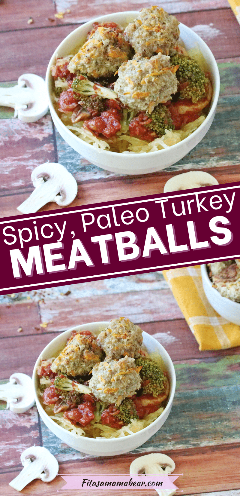 Pin image with text: two pictures of turkey meatballs on spaghetti squash and tomato sauce in a white bowl