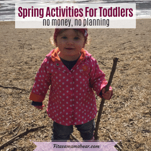 Facebook image with text: toddler in a pink jacket and red hat outside on a hike with a stick