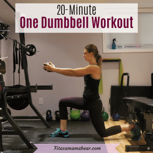 Pinterest image with text: woman performing a lunge with one dumbbell in a gym
