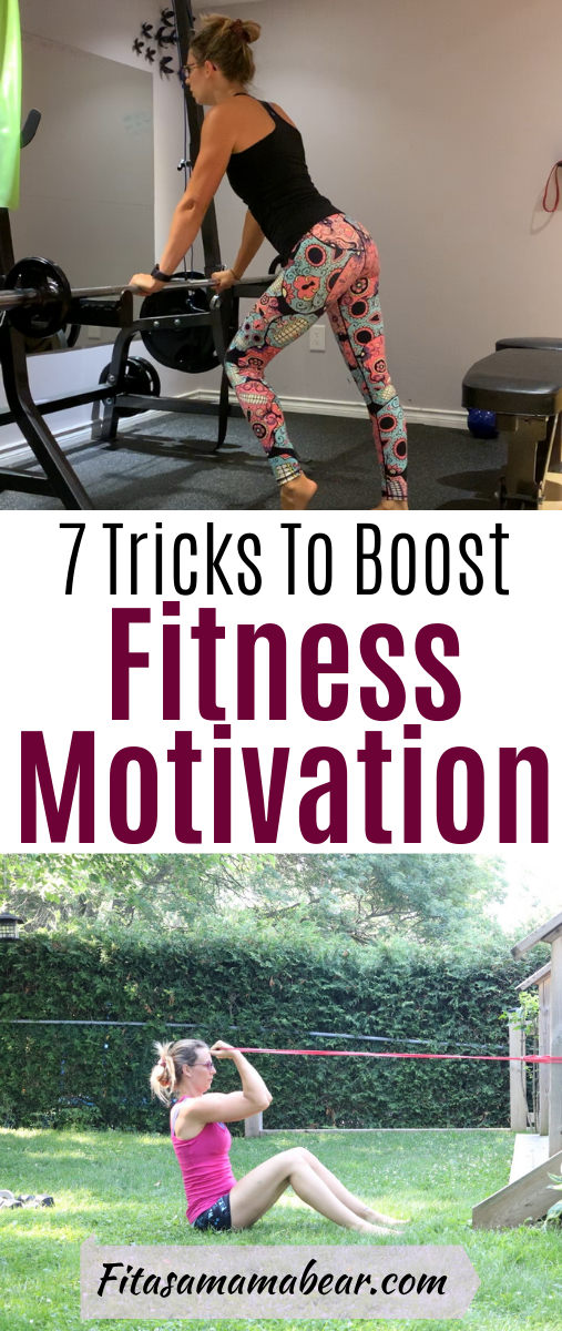 Facebook image with text: woman in bright pants and black shirt at gym staring into mirror. Second image of woman doing band bicep curl with text about fitness motivation tips
