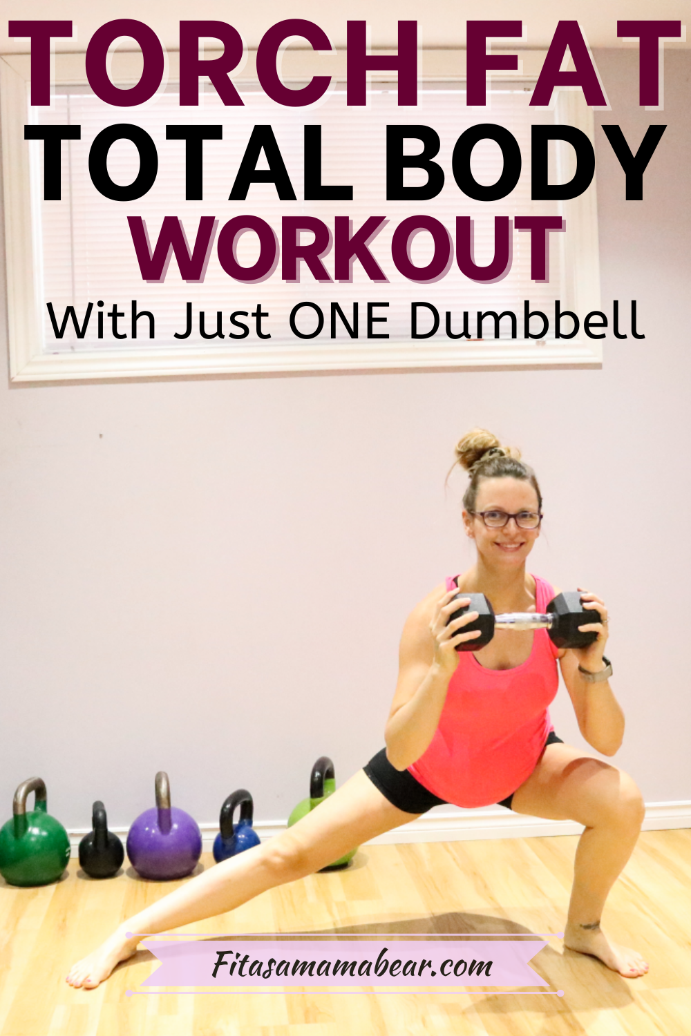 Pinterest image with text: lady in a pink top doing a cossack squat with a black dumbbell