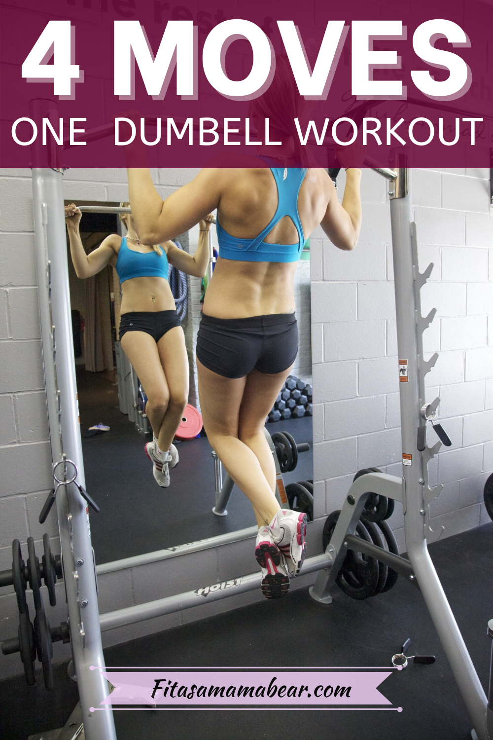Pinterest image with text: female doing an upper body hold on a chin up bar