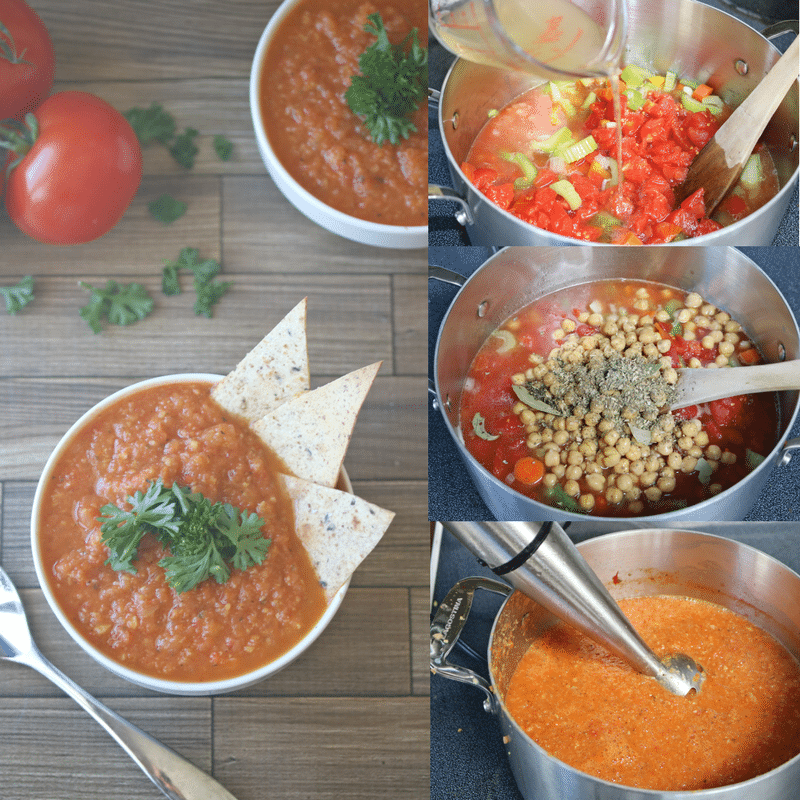 Collage image of tomato soup. Includes the dairy-free tomato soup in white bowls as well as multiple in process images