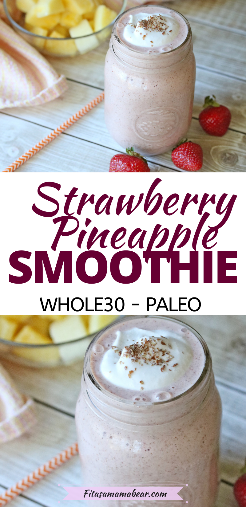 Pinterest image with text: a light pink smoothie in a mason jar topped with coconut whip