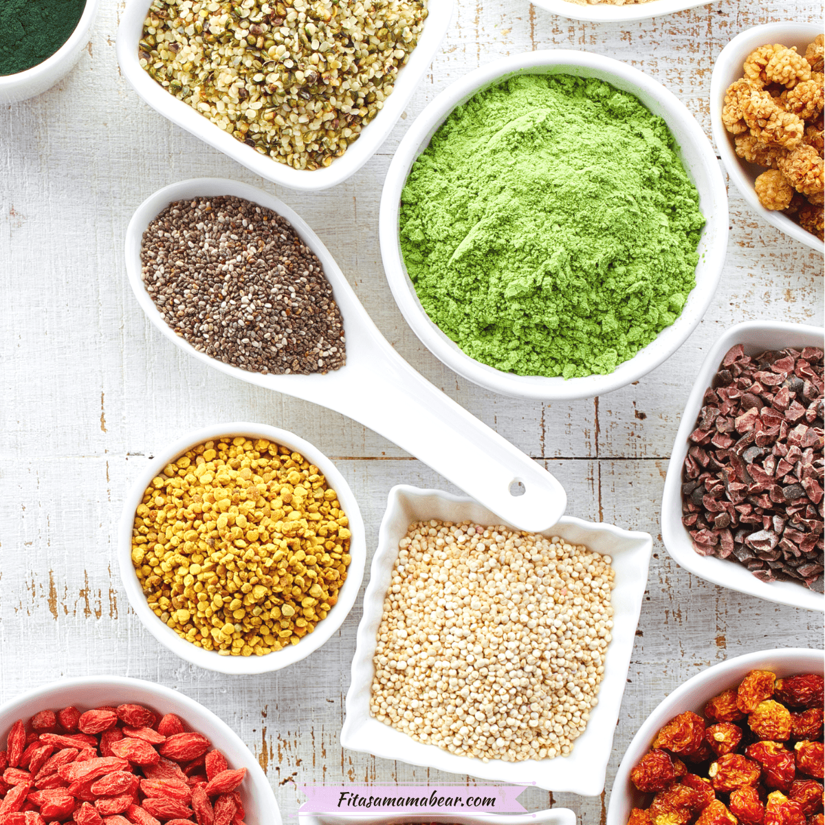 Featured image: multiple superfoods in white bowls