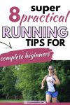 Pinterest image with text: woman in blue shorts and white shirt running outside with text over top about learning to run