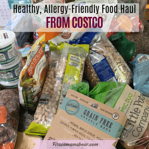 Featured image with text: a counter topped with an assortment of healthy Costco food