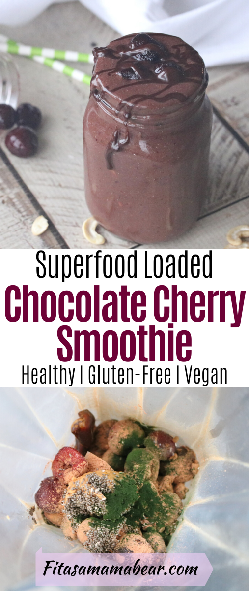 Pinterest image with text: chocolate cherry smoothie with cherries behind it, cashews around it and green straws behind the jar