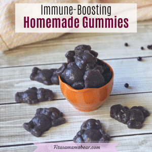 Pinterest image with text: homemade gummies with scattered elderberries