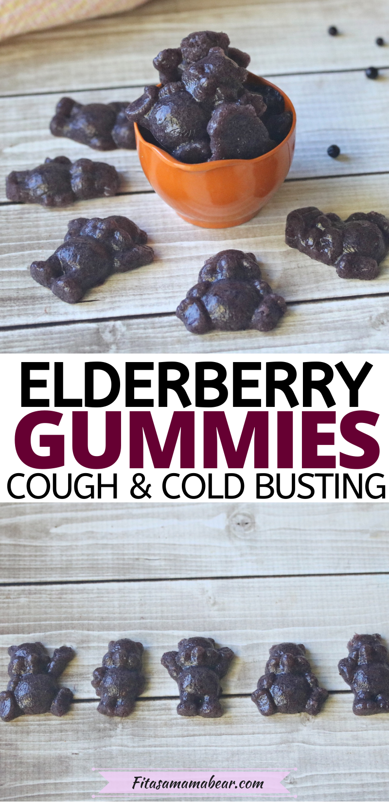 Pinterest image with text: top image of 3 gummies and bottom image of multiple lined up in a row