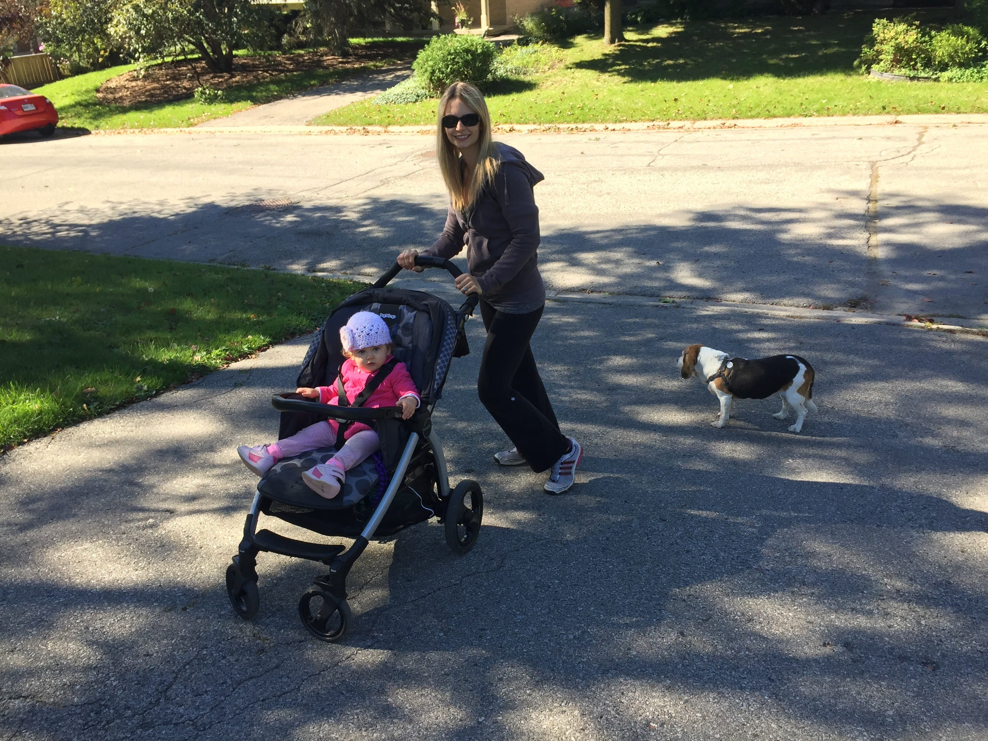 Mom, baby and dog out walking