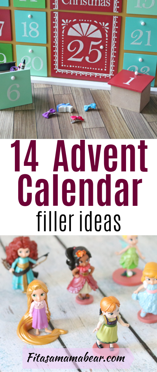 Pinterest image with text: advent calendar with hair bows and second image disney princess figurines