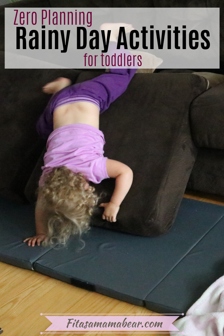 Pinterest image with text- toddler in pink shirt and purple pants upside down on a couch cushion