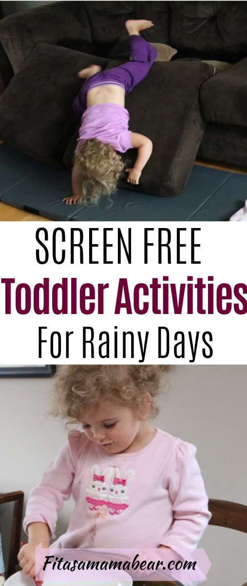 Pinterest image with text: toddler upside down on couch cushions and toddler pouring flour into a bowl