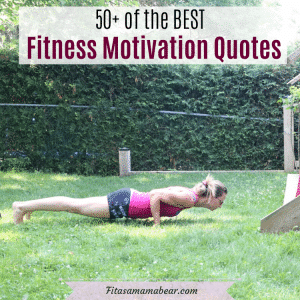 Facebook image with text: woman in pin shirt and dark shorts doing a push up n the grass