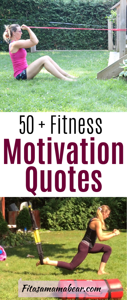 Pinterest image with text: 2 images of a woman in backyard working out