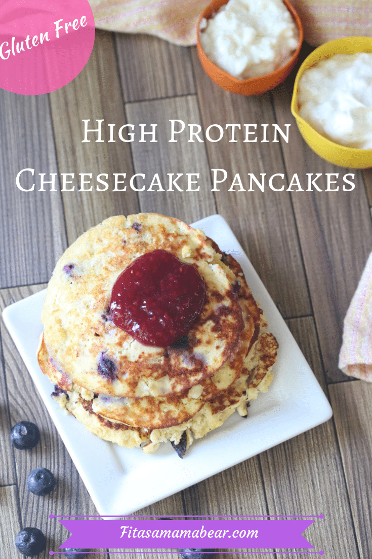 High protein cheesecake pancakes