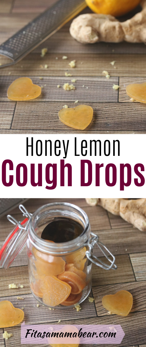 Pinterest image with text: homemade cough drops in a mason jar with three lozanges in front and ginger root behind it