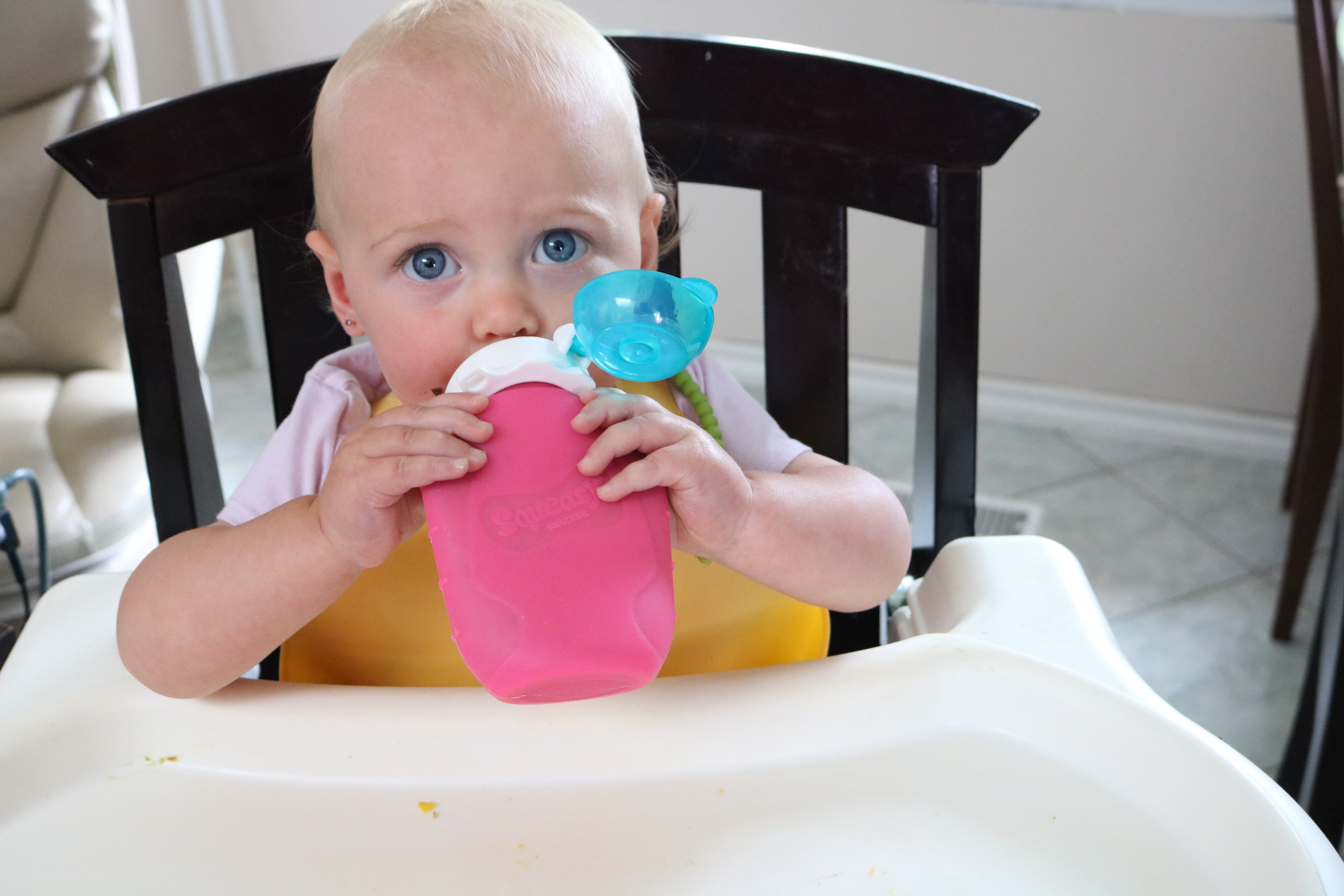 Baby eating smoothie