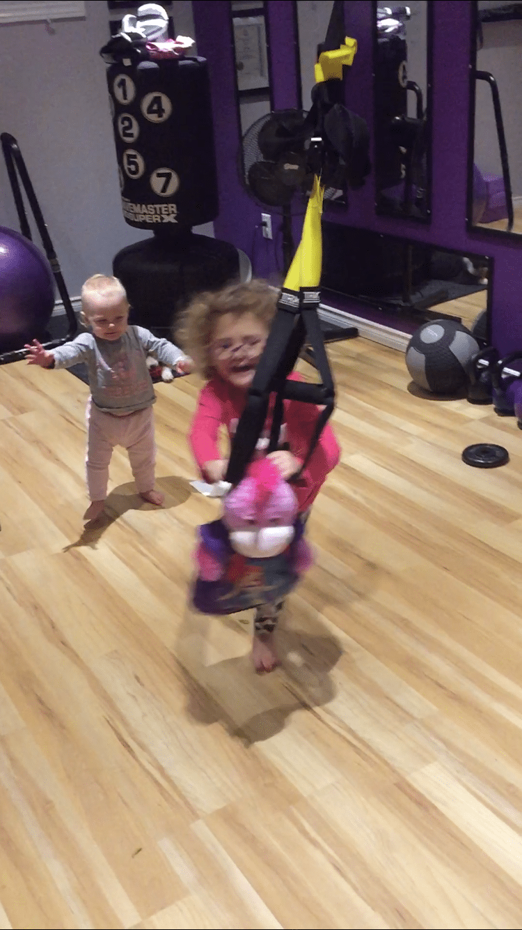 Toddler playing in gym