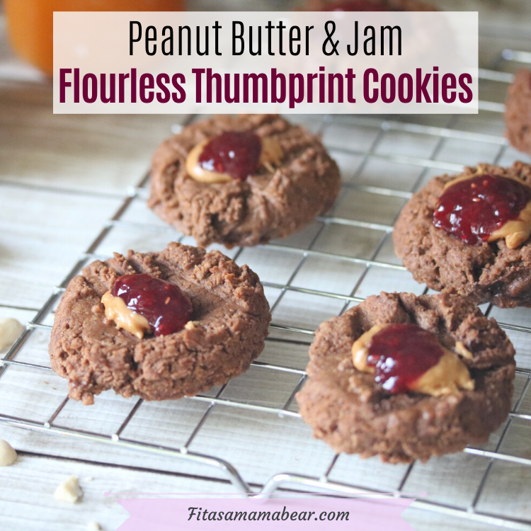 Facebook image with text: peanut butter and jam thumbprint cookies on a cooling rack with a jam jar and linen behind them