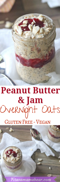 Peanut butter and jam overnight oats