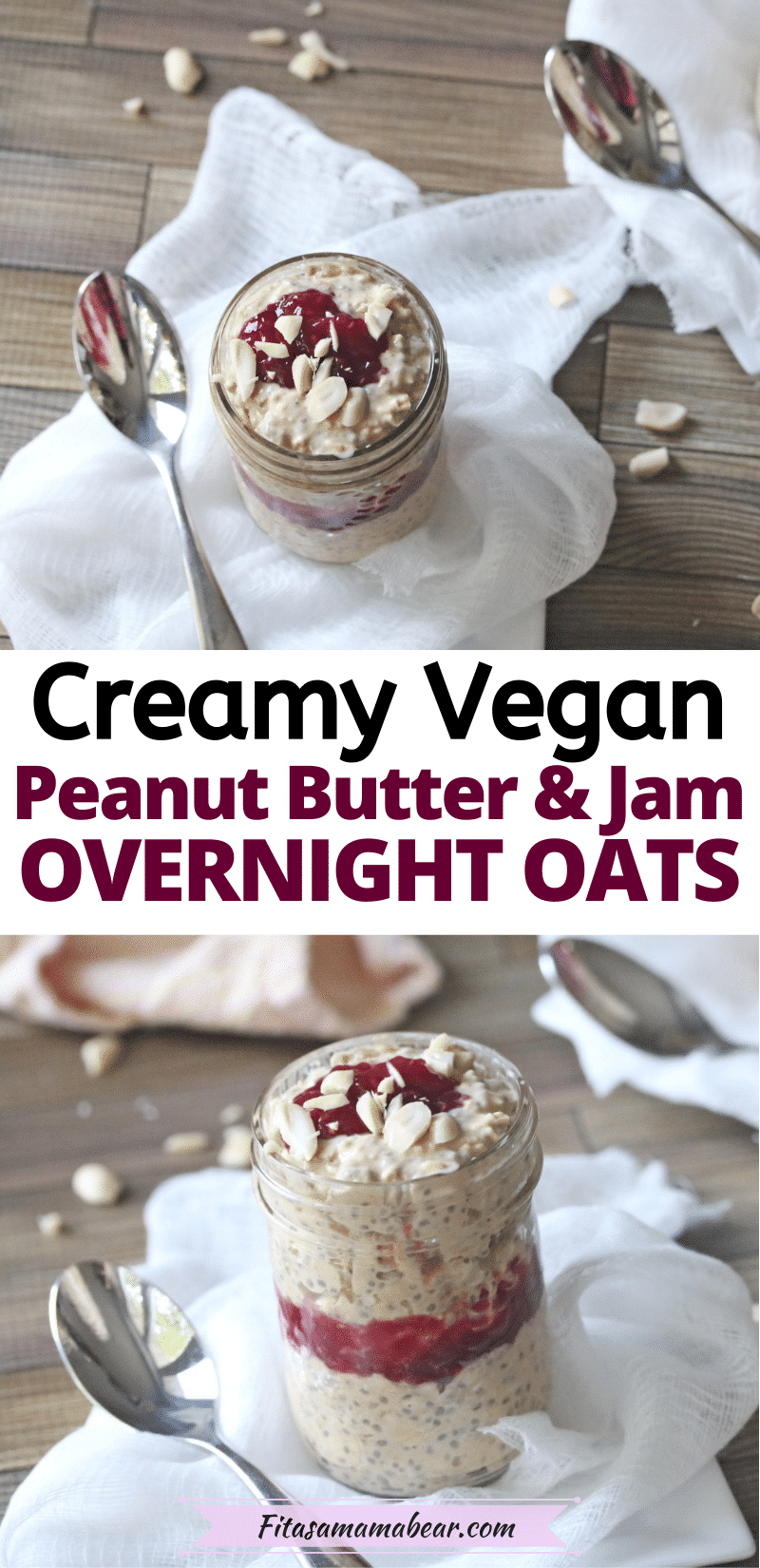 Pinterest image with text: a clear glass jar with jam and oats