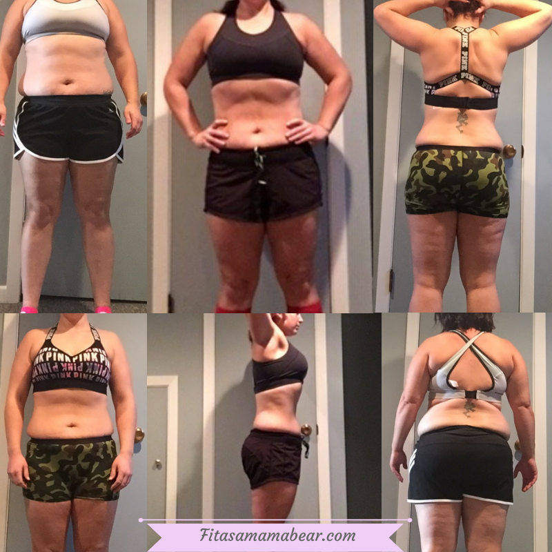 Weight loss goals over a few years. Multiple shots of a woman in a sports bra and shorts on her weight loss journey
