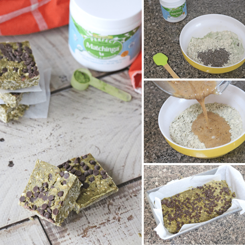 Collage image of no-bake protein bars, the first image of the bars stacked and behind it the remaining images of in process shots making the bars