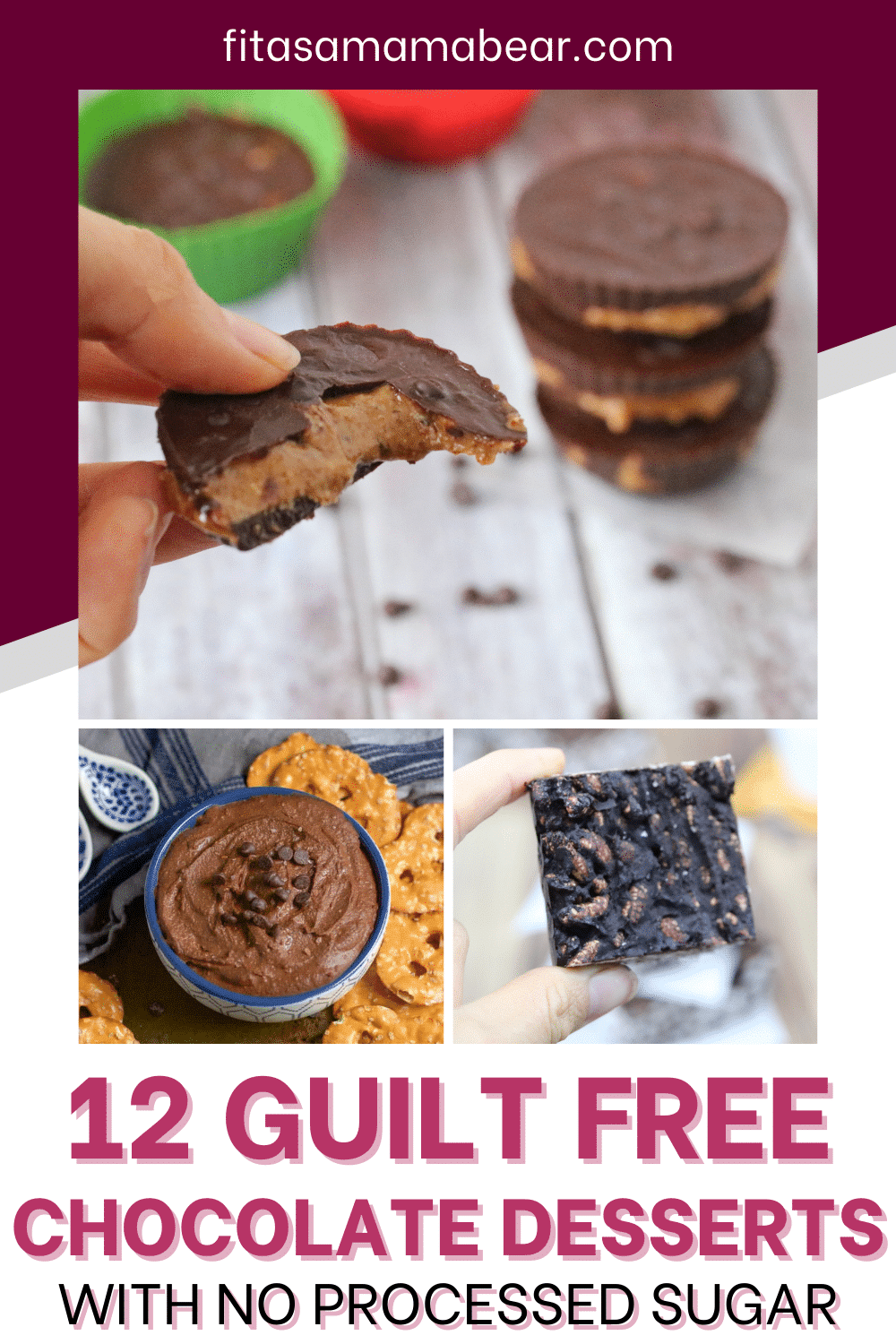 Pinterest image with text: 4 images of healthy chocolate desserts