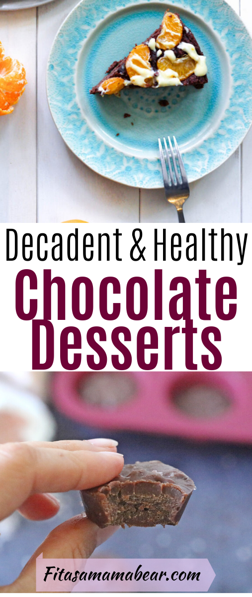 Pinterest image with text: healthy dessert recipes collage of chocolate cake, chocolate hummus and fudge