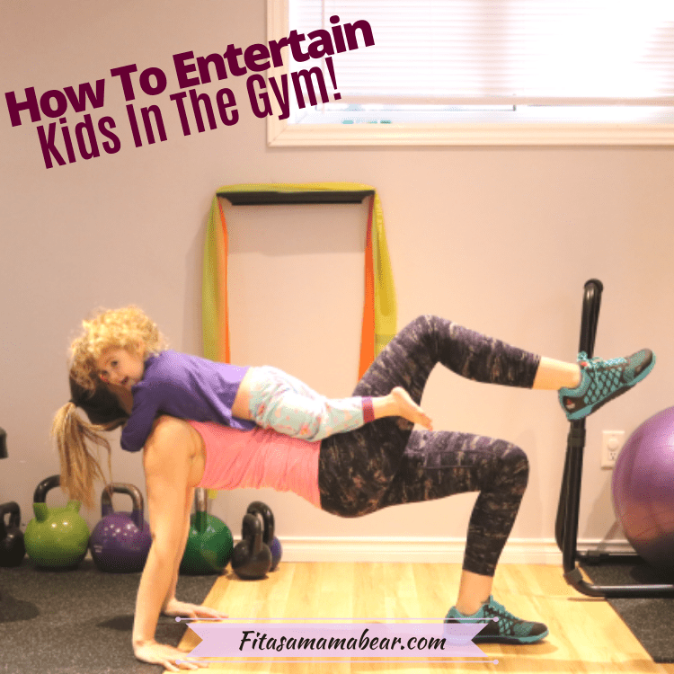 Featured image with text: mom working out in the gym with toddler on her tummy