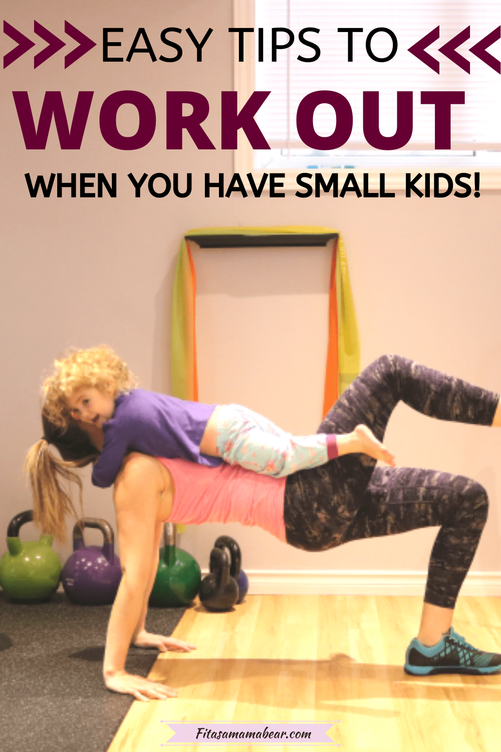 Pinterest image with text: mom working out in the gym with toddler on her tummy