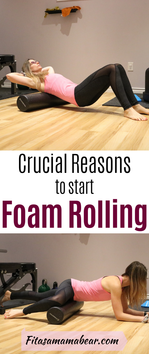 Pinterest image with text: Woman in pink shirt and dark pants using a foam roller