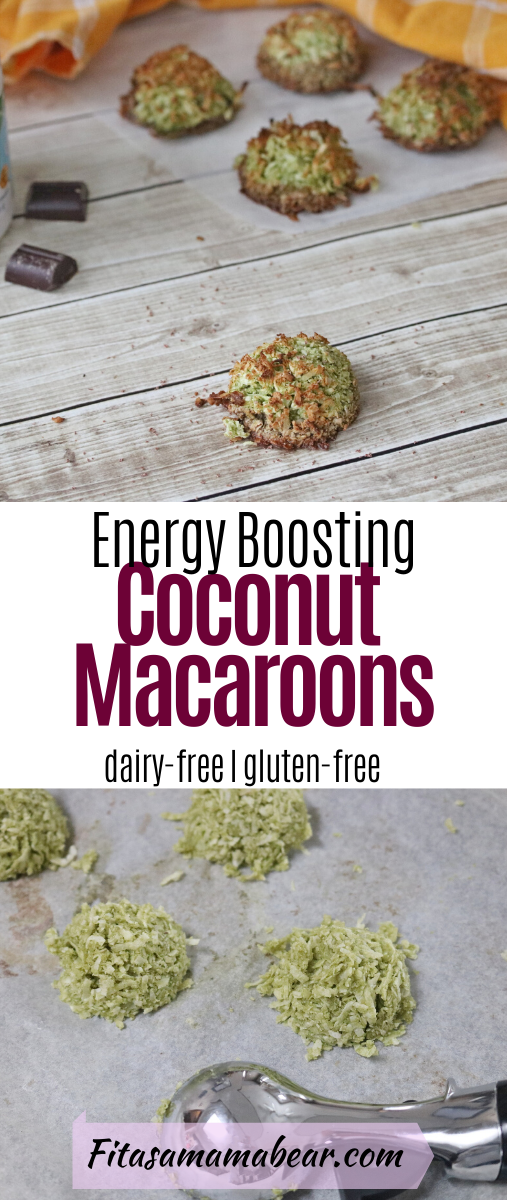 Pinterest image with text: coconut macaroons with superfood container and chocolate around them