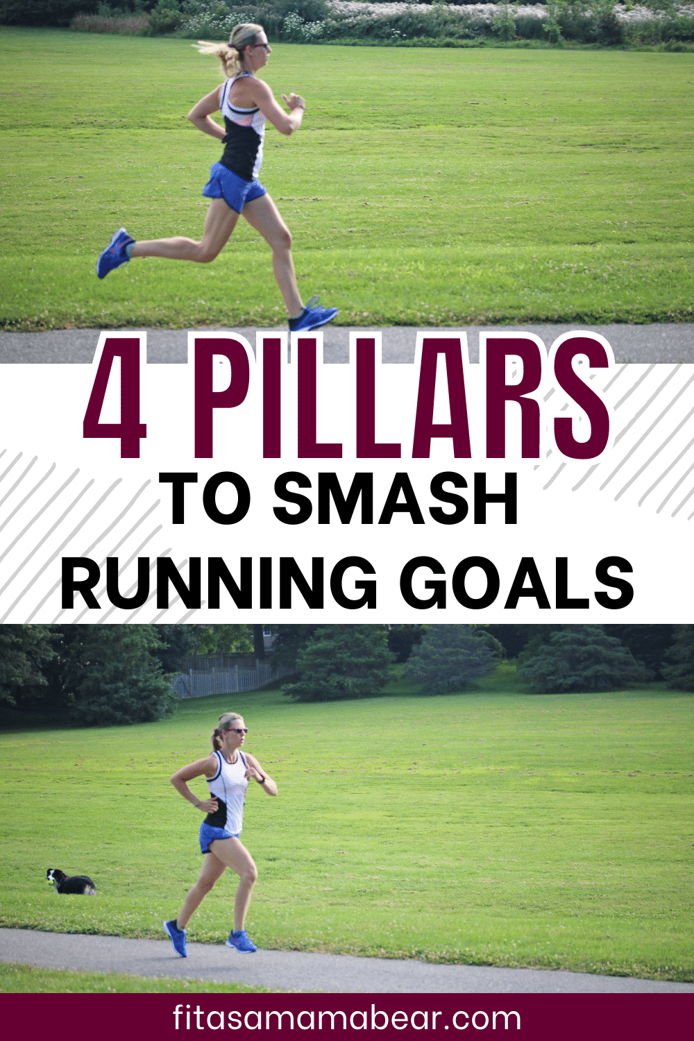 Pinterest image with text: two images of a female running outside