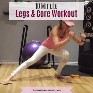 Woman in pink shirt and white pants performing a leg workout at home